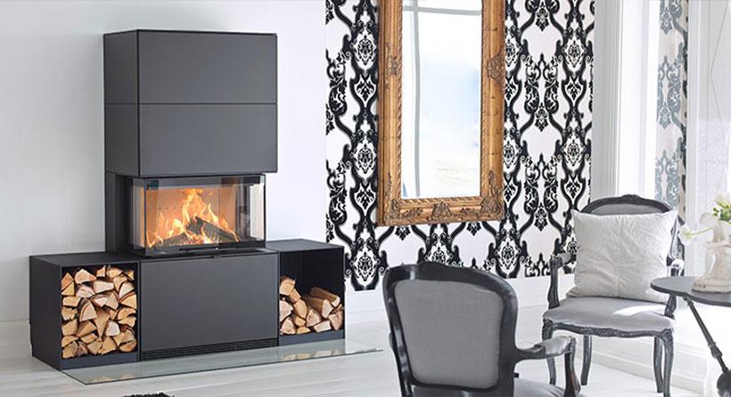 Contura insert cheminée murale - parfait pour une grande pièce