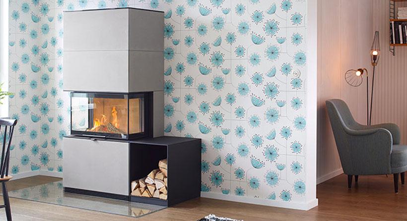 Contura modèle i51AN - cheminée murale moderne - structure en béton