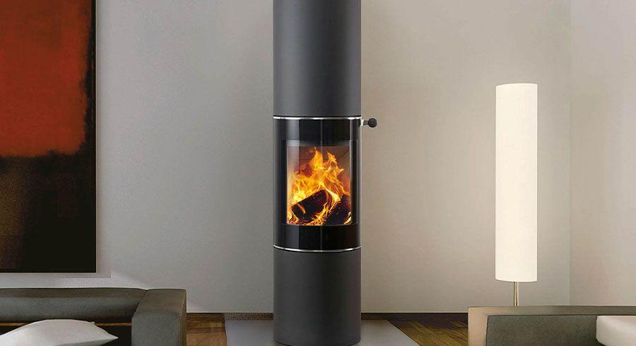 Poêle chauffant à bois gris anthracite et noir